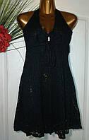 Платье кружевное с открытой спиной черный  B176 44-48р
