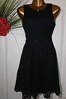 Платье кружевное с открытой спиной черный B178 44-48р