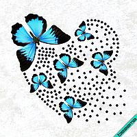 Декор на пальто Бабочки и сердце