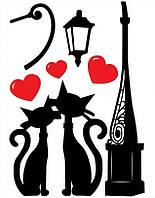 Декоративная наклейка ZV  № 5 Коты с сердечками, фото 1