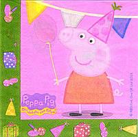 """Салфетки бумажные """"Peppa Pig"""" розовая. В упак: 15шт."""