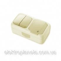 Выключатель 2 + Розетка с/з  PALMIYE  IP54 (крем)