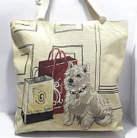 Пляжная текстильная летняя сумка для пляжа и прогулок Собачка