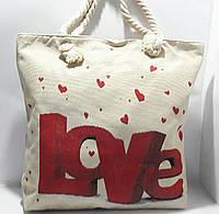 Пляжная текстильная летняя сумка для пляжа и прогулок Любовь