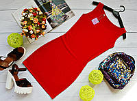 Молодежное платье майка мини вискоза красное