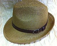 Шляпа летняя мужская коричневая с завернутыми сзади полями