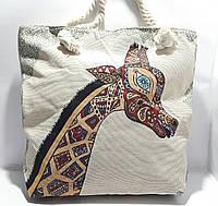 Пляжная текстильная летняя сумка для пляжа и прогулок Жираф