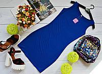 Молодежное платье майка мини вискоза синее