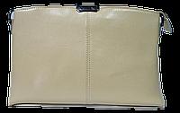 Прямоугольная женская сумочка из натуральной кожи бежевого цвета VQX-214244