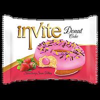 Пирожное-донат  INVITE c клубничным соусом , 45 гр