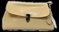 Стильная женская сумочка из натуральной кожи бежевого цвета GYR-070066