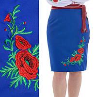 Женская юбка плахта с красными маками Соломия синего цвета