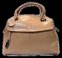 Эффектная женская сумочка из натуральной кожи бежевого цвета DTO-546446