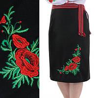 Женская юбка плахта с красными маками Соломия черного цвета