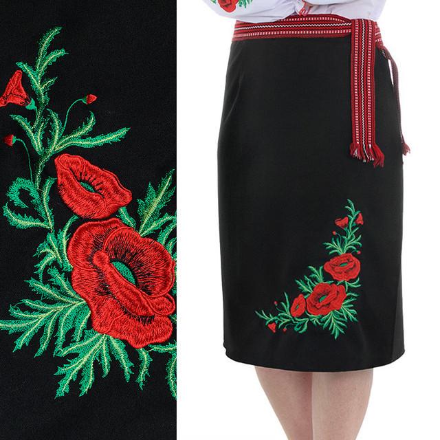 Жіноча спідниця, плахта з червоними маками Соломія чорного кольору