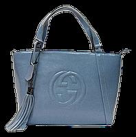 Элегантная женская сумочка из натуральной кожи голубого цвета JJV-064621