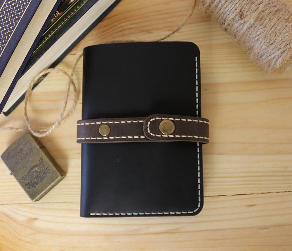 Мужское кожаное портмоне ручной работы VOILE vl-mp1-blk-beg-brn