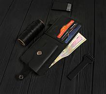 Мужской кожаный кошелек ручной работы VOILE vl-cw1-blk, фото 3