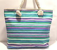 Пляжная текстильная летняя сумка для пляжа и прогулок Цветная полоса
