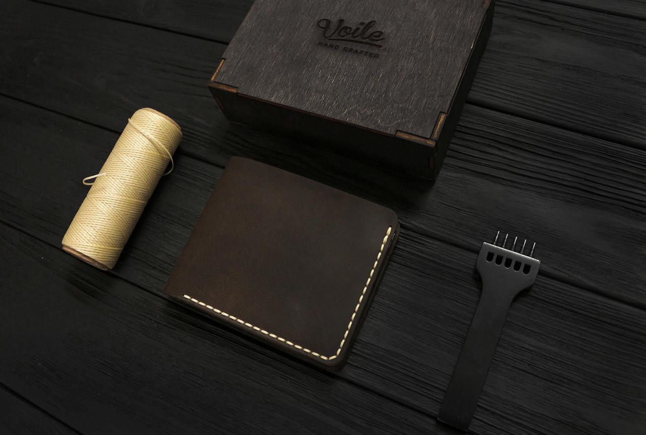 Мужской кожаный бумажник ручной работы VOILE vl-mw1-brn-beg