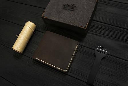 Мужской кожаный бумажник ручной работы VOILE vl-mw1-brn-beg, фото 2