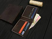 Мужской кожаный бумажник ручной работы VOILE vl-mw1-brn-beg, фото 3