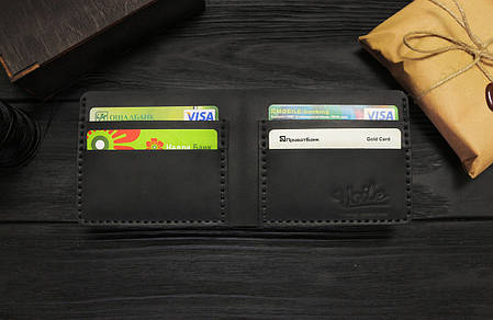 Мужской кожаный бумажник ручной работы VOILE vl-mw1-blk черный, фото 2