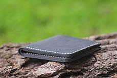 Мужской кожаный бумажник ручной работы VOILE vl-mw1-blk-beg, фото 3