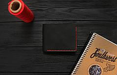Мужской кожаный бумажник ручной работы VOILE vk-mw1-blk-red