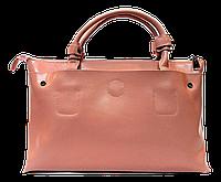 Практичная женская сумочка из натуральной кожи розового цвета LLQ-017777