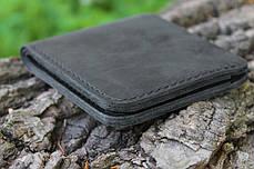 Мужской кожаный бумажник ручной работы VOILE vl-mw2-blk, фото 3