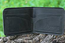 Мужской кожаный бумажник ручной работы VOILE vl-mw2-blk, фото 2