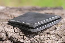 Мужской кожаный бумажник ручной работы VOILE vl-mw2-blk-beg, фото 3