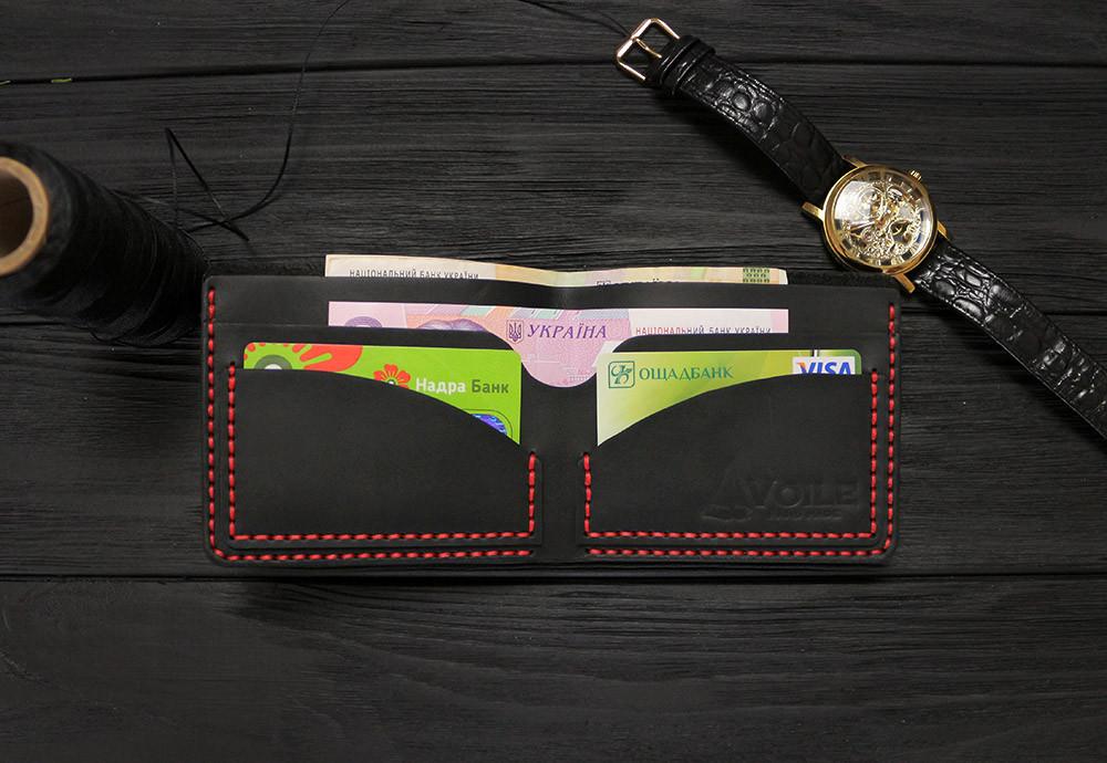 Мужской кожаный бумажник ручной работы VOILE vl-mw2-blk-red черный