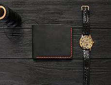 Мужской кожаный бумажник ручной работы VOILE vl-mw2-blk-red черный, фото 2