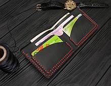 Мужской кожаный бумажник ручной работы VOILE vl-mw2-blk-red черный, фото 3