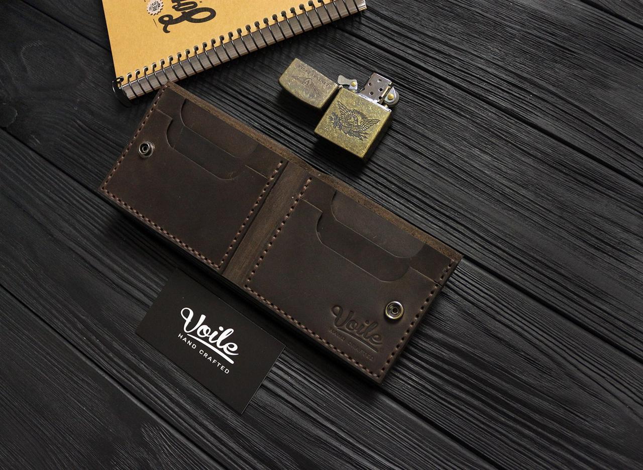 Мужской кожаный бумажник ручной работы VOILE vl-mw4-brn