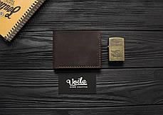 Мужской кожаный бумажник ручной работы VOILE vl-mw4-brn, фото 2