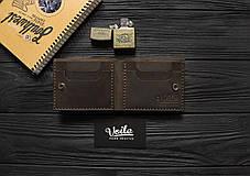 Мужской кожаный бумажник ручной работы VOILE vl-mw4-brn, фото 3