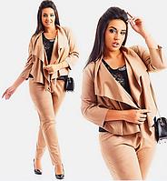 Красивый женский замшевый брючный костюм-тройка большого размера  +цвета