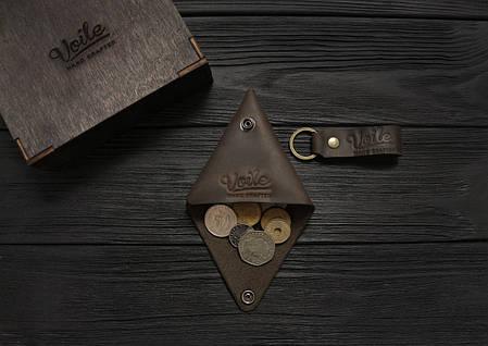 Монетница кожаная ручной работы VOILE vl-cn1-brn коричневая, фото 2