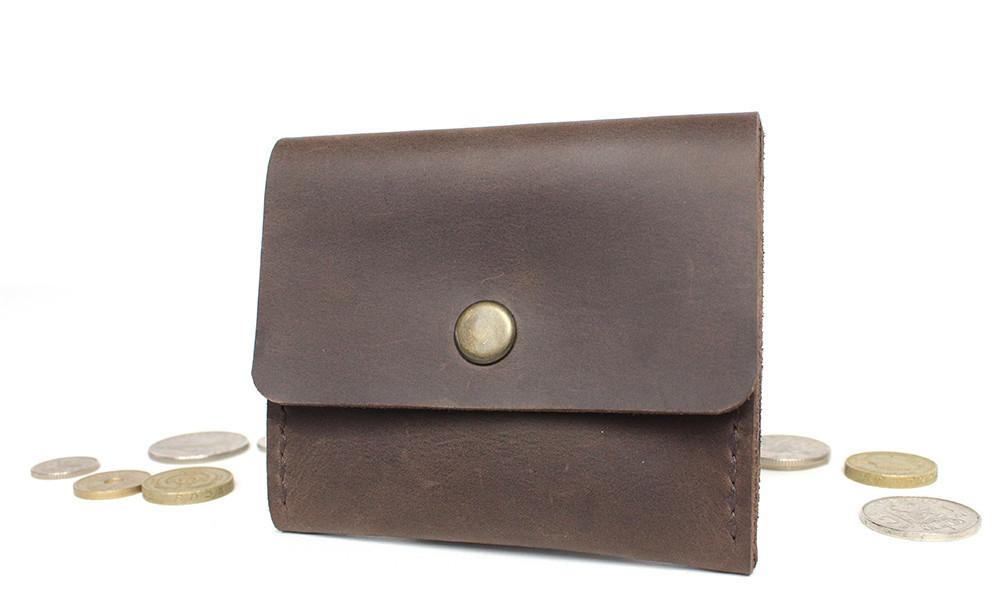 Кожаная коричневая монетница ручной работы VOILE vl-cn2-brn