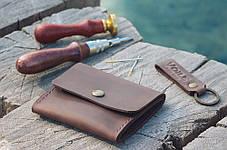 Кожаная коричневая монетница ручной работы VOILE vl-cn2-brn, фото 3