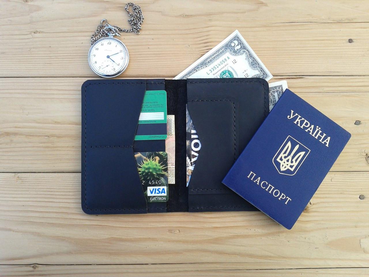 Мужской черный кошелёк обложка ручной работы VOILE vl-cvw2-blk-blk