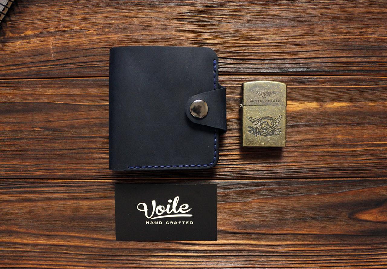 Мужской кожаный бумажник ручной работы VOILE vl-mw8-blu