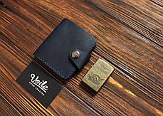 Мужской кожаный бумажник ручной работы VOILE vl-mw8-blu, фото 2