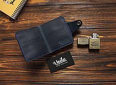 Мужской кожаный бумажник ручной работы VOILE vl-mw8-blu, фото 3