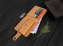 Мужской кожаный кошелек ручной работы VOILE vl-cw1-ryz-tbc, фото 2