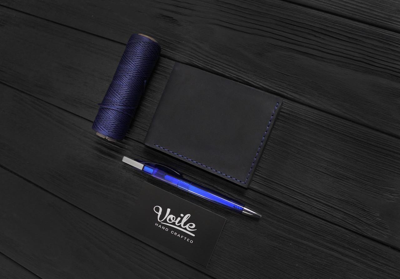 Мужской кожаный бумажник ручной работы VOILE vl-mw4-blu