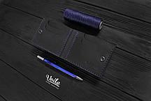 Мужской кожаный бумажник ручной работы VOILE vl-mw4-blu, фото 2